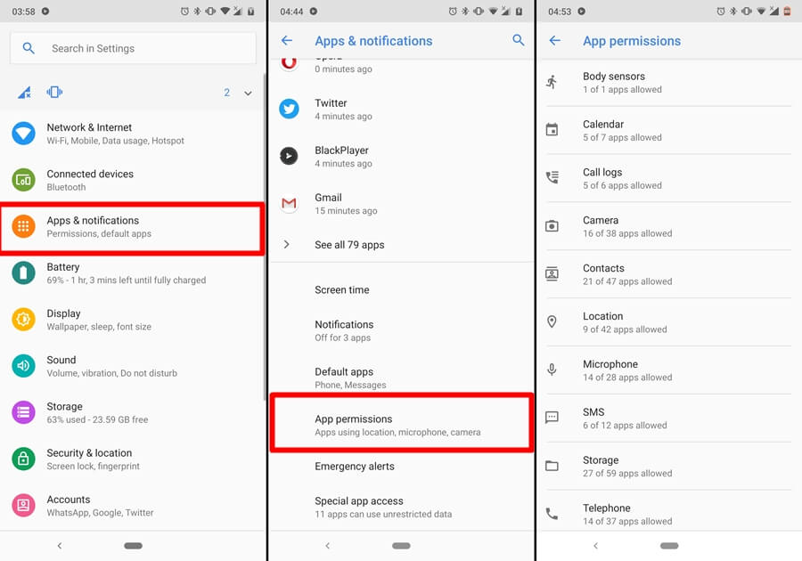 access app permissions android