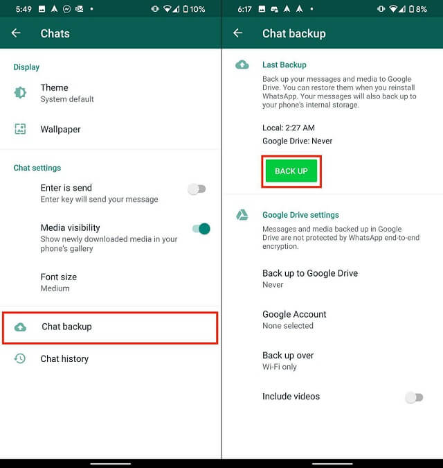 back up whatsapp chats android