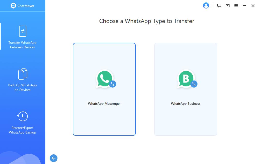 choose whatsapp type to transfer