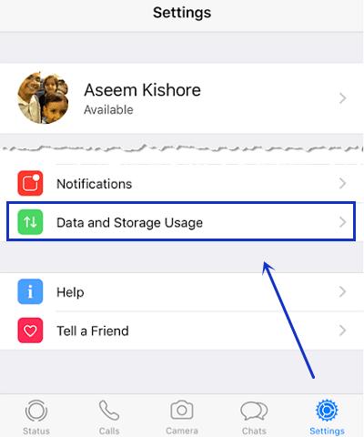 data and storage usage