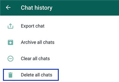 delete all WhatsApp chats