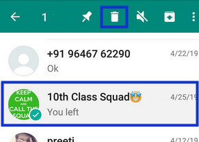 delete WhatsApp group chat