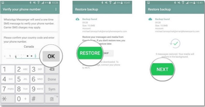 restore whatsapp backup android steps