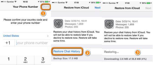 restore whatsapp to iphone