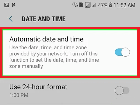 set automatic date and time on phone