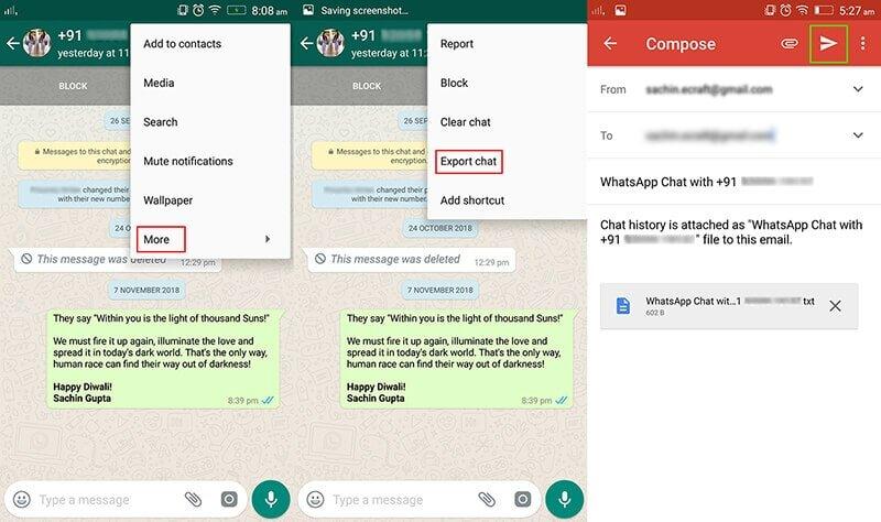 transfer whatsapp via email