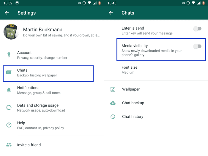 turn off media visibility for all the chats and groups