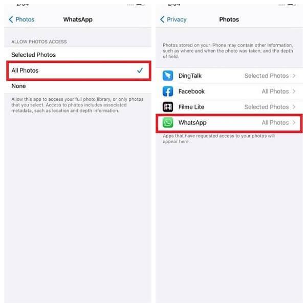 whatsapp photos settings