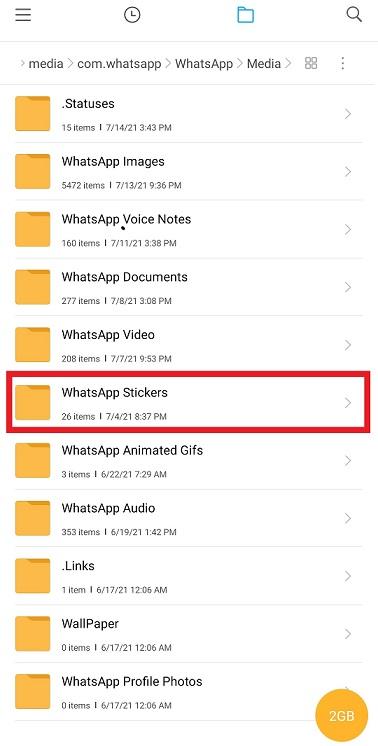 whatsapp sticker folder