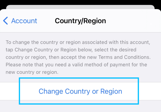 change country or region iphone