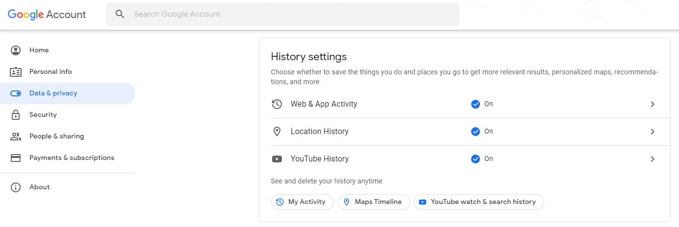 google data privacy settings