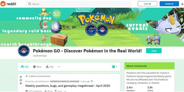 refer to the pokemon go subreddit
