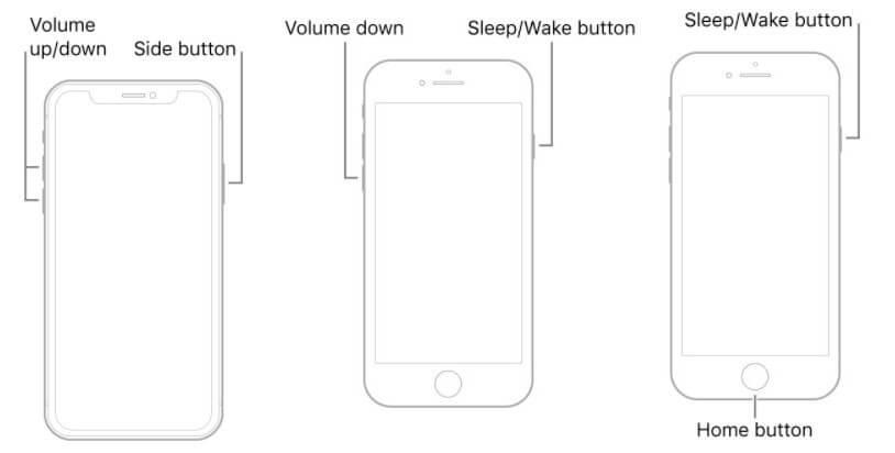 force restart different iphone models