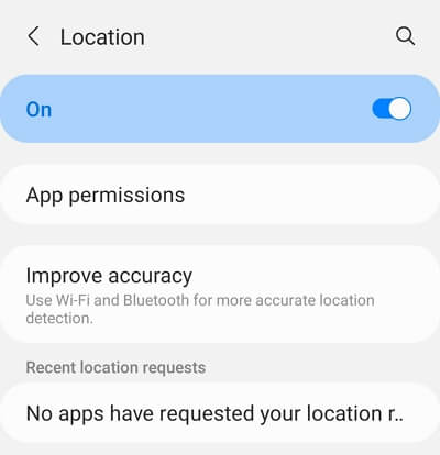 enable location services on Android