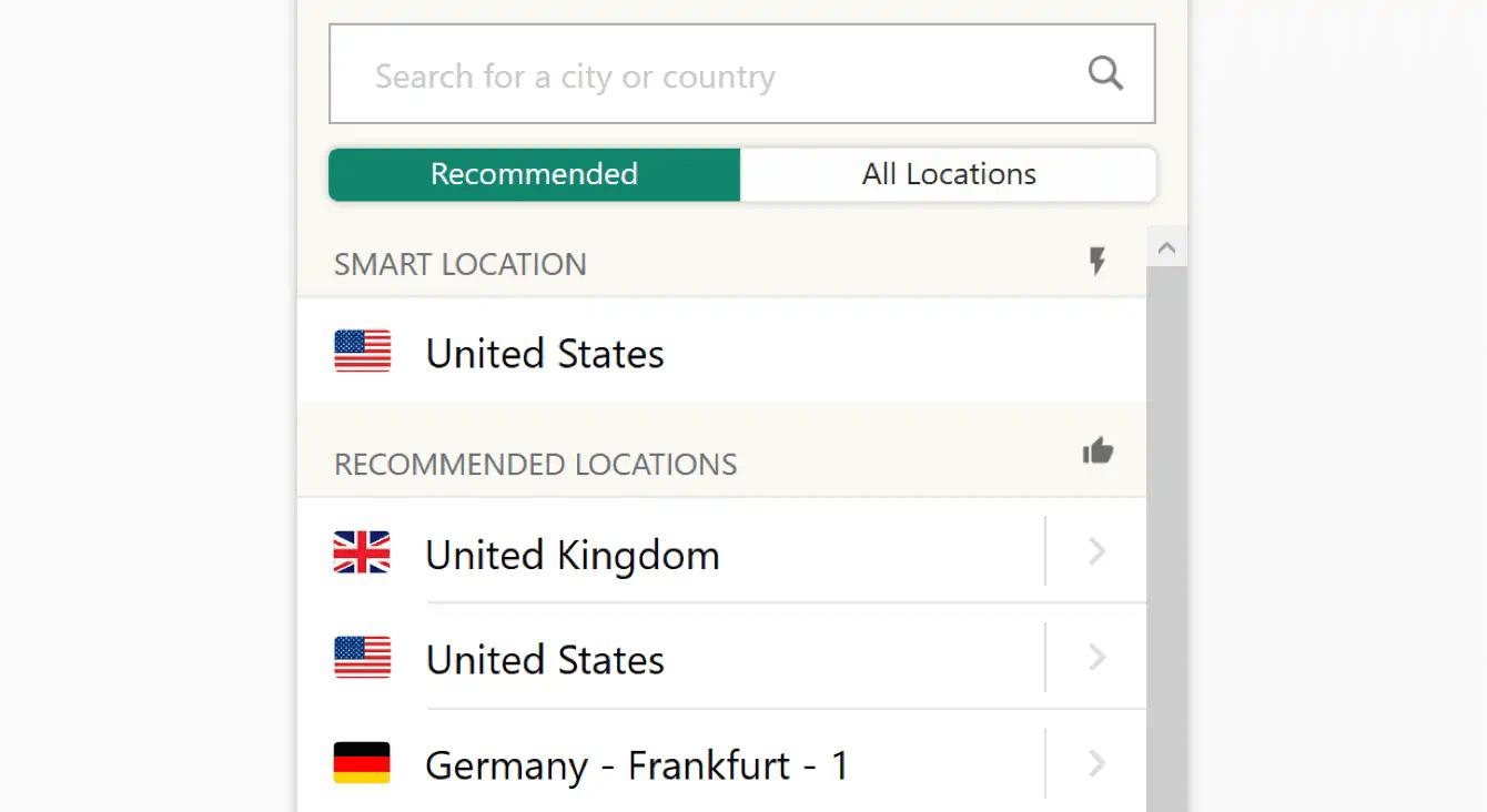 vpn location choice