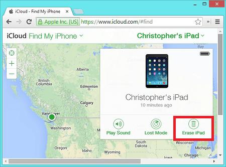 Erase iPad via iCloud