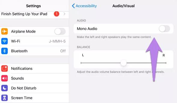 mono audio ipad