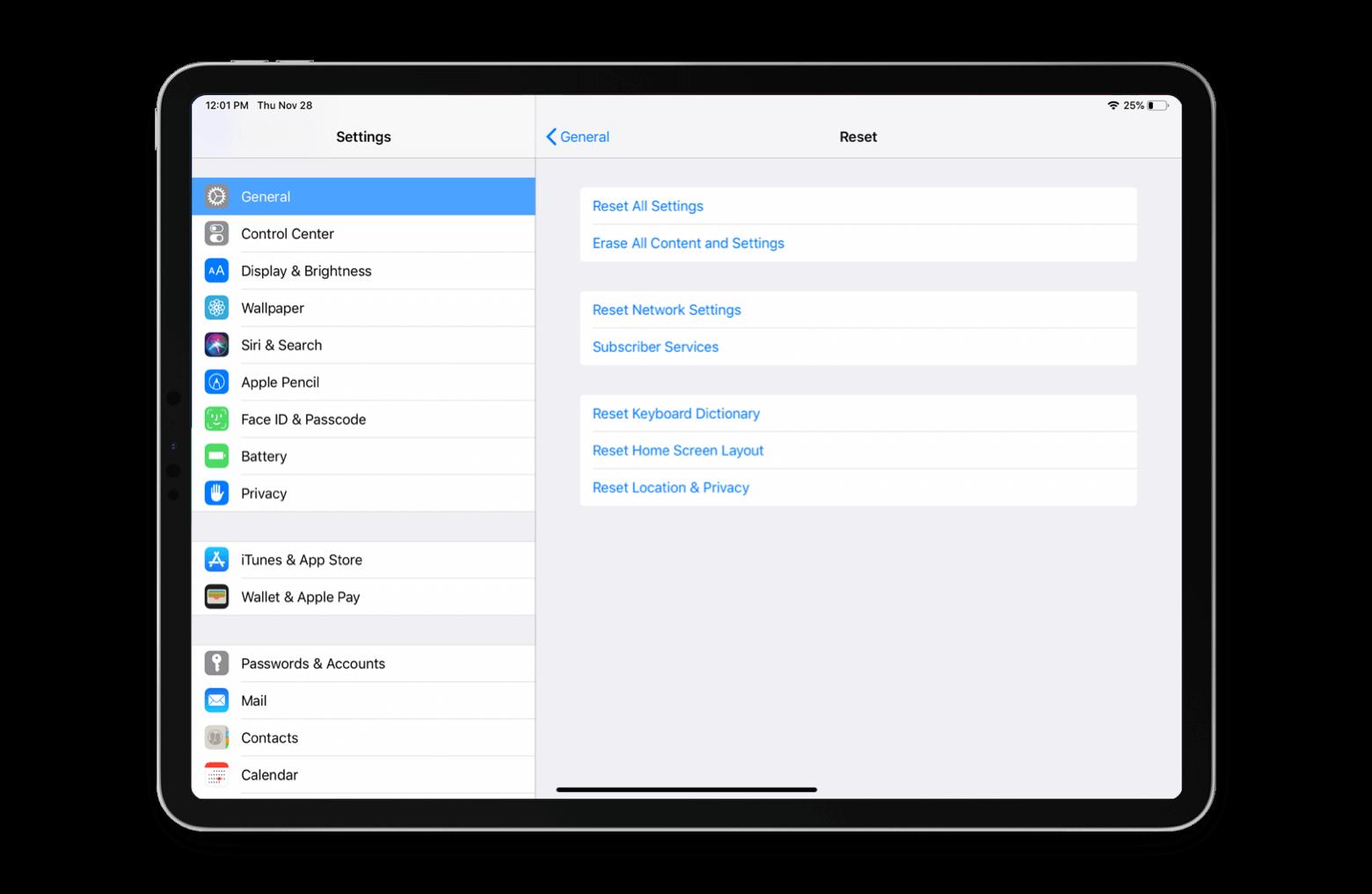 ipad reset all settings