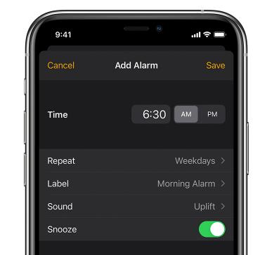 add an iPhone Alarm