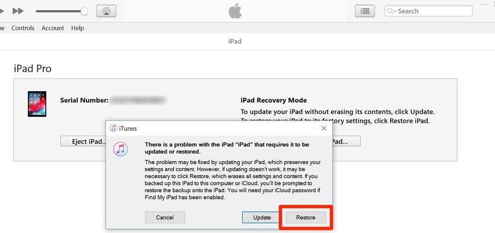restore iPad via iTunes