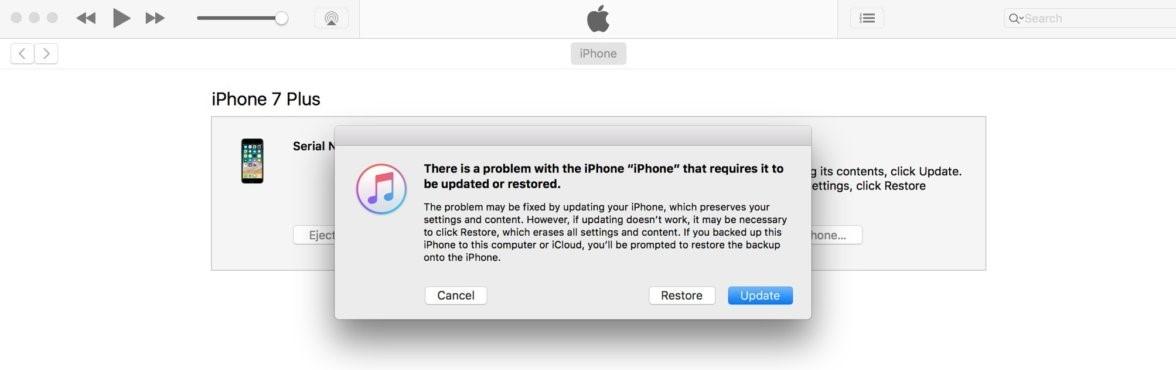 restore iphone via ituens