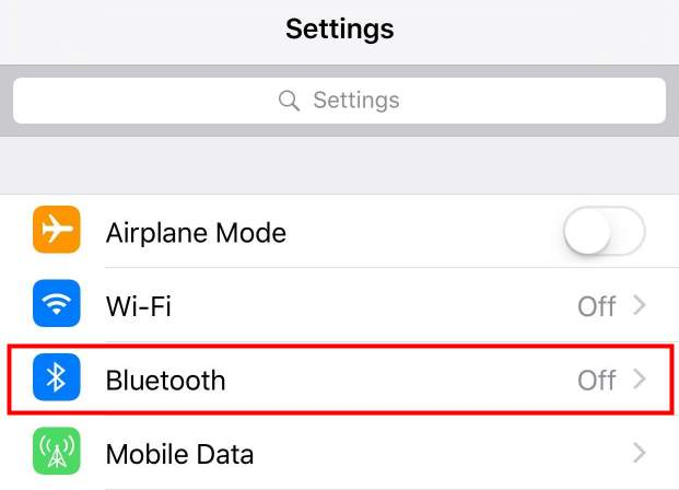 Turn off iPhone's Bluetooth