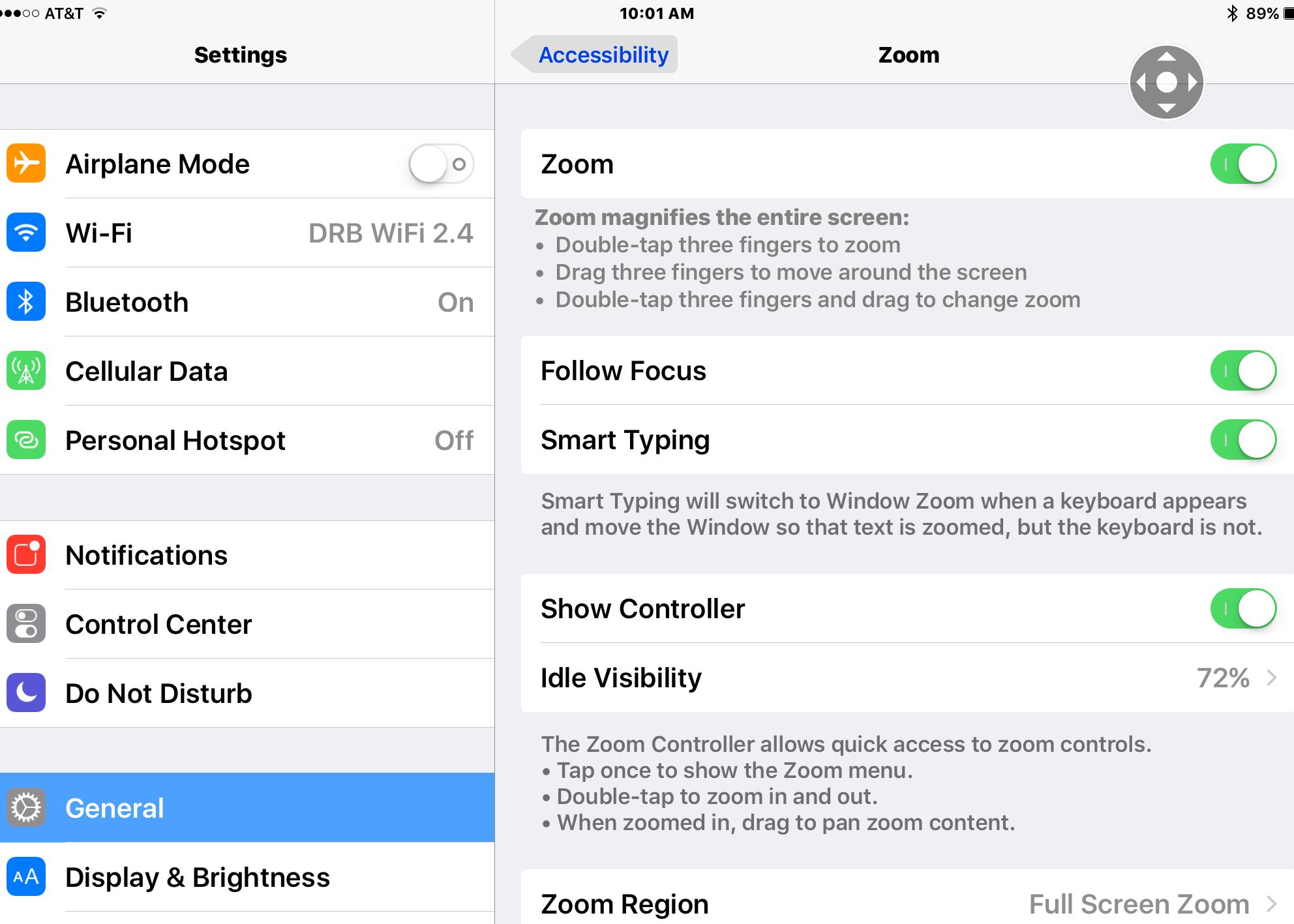 turn zoom off on iPad