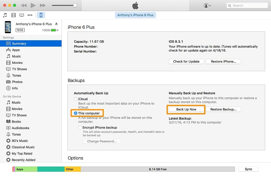 backup with itunes