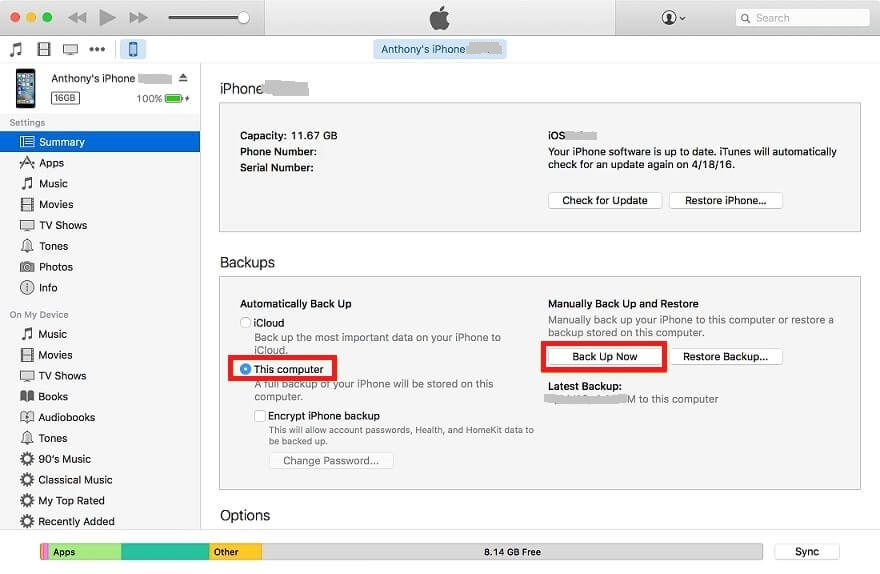 backup with itunes steps