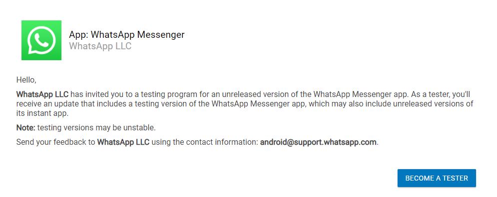 become whatsapp beta tester